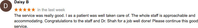 Google review, Dr. Shah, Lux Medical Spa
